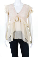 Love Sam Womens Embroidered Ruffle Cap Sleeve V Neck Blouse Size Extra Small