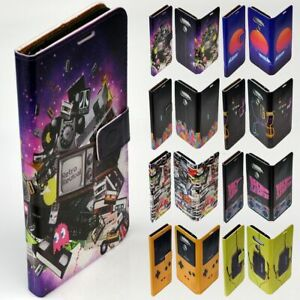 For HTC Series - 1980s Retro Trend Theme Print Wallet Mobile Phone Case Cover
