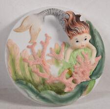 Vintage Lefton Auburn Mermaid 3D Wall Plaque w Coral