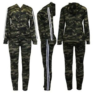 New Womens Army Camouflage Side Stripe Jogging Bottom Lounge Pants Tracksuit Set