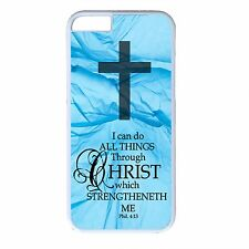 For iPhone 4s 5s 5c 6 6s Plus Christian Catholic Verse Quote New Back Cover Case
