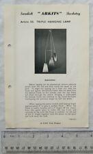 Vintage leaflet: Swedish Arkits Basketry - triple hanging lamp, 155