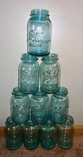 10 OLD VINTAGE BALL PERFECT MASON ANTIQUE BLUE GLASS QUART CANNING JARS 1 OFFSET