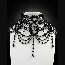 Restyle BURLESQUE Big Black Victorian beaded choker. Gothic Beauty. Necklace.