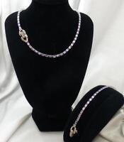 Vintage MAZER BROS. Lt. Lavender Rhinestone Choker Necklace & Bracelet Set
