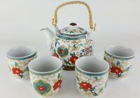 5pc Ceramic BEAUTIFUL FLOWERS Chinese Tea Set Teapot strainer 4 Cups in gift box