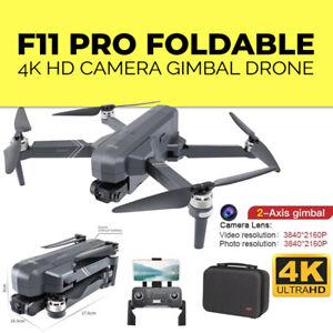 Newest F11 PRO Foldable 4K HD Camera Gimbal Drone Brushless WIFI FPV GPS +64G TF