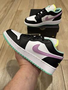 Air Jordan 1 Low GS Violet Shock Size 6.5Y Green Black 553560-151 Nike