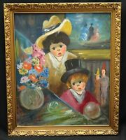 FABULOUS 60's  MELANCHOLY BIG EYED BOY & GIRL with CLOWNS PAINTING signed GINO