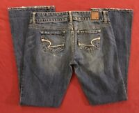 American Eagle Outfitters Artist Flare Distressed Blue Jeans size 4 100% Cotton