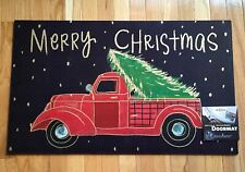 "Red Truck Christmas Mohawk Home Heavy Duty Recycled Rubber Door Mat 18""x30"""