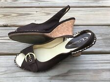 CL by Chinese Laundry Women Heels Sandal Celena Shoe Fabric Upper Brown Size 10M
