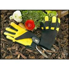 Gold Leaf Soft Touch Gardening Gloves LADIES FIT.  Leather Palms.