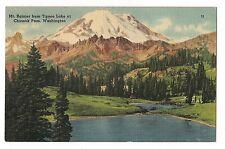 Mt. Rainier from Tipsoo Lake Chinook Pass Washington Postcard Wa Linen