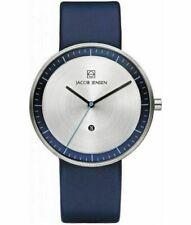 Jacob Jensen 32272 Unisex Armbanduhr Analog Quarz Uhr Leder Armband silber blau