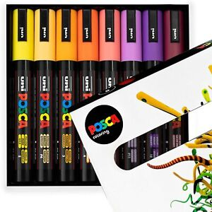POSCA  PC-5M Paint Marker Pens - 1.8-2.5mm – Sunset Tones Set of 8 in Gift Box