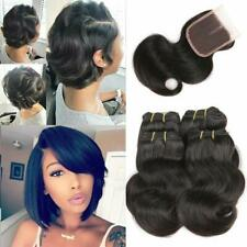 FEIBIN Short Body Wave Bundles with Closure Unprocessed Human Hair Weave 230g