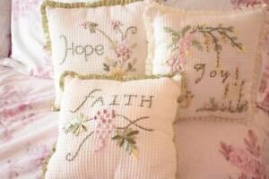 Shabby Cottage Chic Embroidered Decorative Toss Pillows Set 3 Faith Joy Hope
