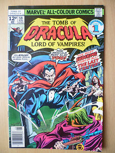 TOMB OF DRACULA LORD OF VAMPIPRES, August 1977 Issue Marvel Comics:No 59, Vol.1