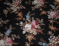 Antique French Botanical Roses Floral Cotton Fabric ~ Rose Blue on Black
