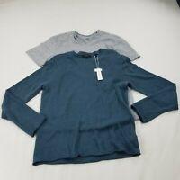 Vince   Mens lot 2 shirt Sweater linen  blend blue knit  Small dm