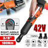 42V 3/8'' 100Nm Electric Cordless Ratchet Wrench 90° Right Angle + 2 Battery Set