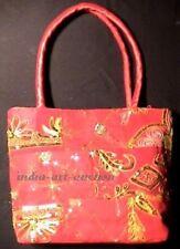 SARI BAG BOHO CHIC RED HANDMADE ANTIQUE PATCHWORK VINTAGE BEADS GLITTER INDIA
