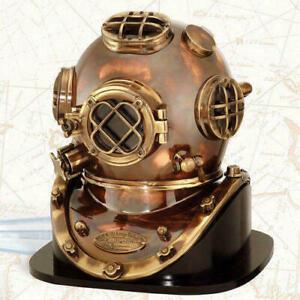 Deep Sea US Navy Mark V Solid Antique Diving Marine Scuba Divers Helmet W/ Base