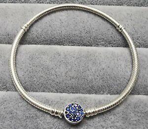 """Pandora Bracelet 599288C01 Sparkling Blue Disc Clasp Size 7.1"""" S925 ALE"""