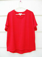 Coldwater Creek Women's 100% Polyester Top Blouse Red Sheer Knit  XL 16