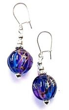 BLUE/PURPLE PUMPKIN BEAD + SILVER PLATED DROP EARRINGS post discounts available
