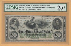 Bank of Prince Edward Island ISSUED $20 1872 6001216 PMG-25 Very Fine Banknote