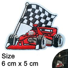 Racing car Iron on patch formula one races race cars flag f1 iron-on patches