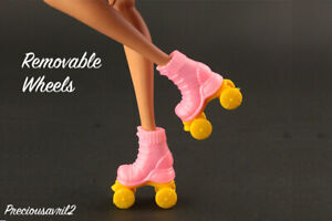 New Barbie doll clothes QUALITY SHOES 1 pair roller skates removable wheels