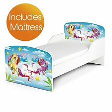 MAGICAL PONY MDF TODDLER BED + DELUXE MATTRESS NEW GIRLS