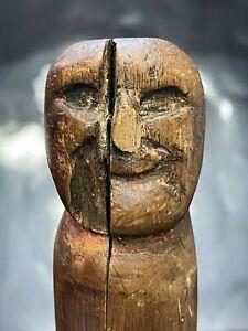 18th/19th C. Native American Eastern Woodlands Iroquois Lenape Wood Effigy Cane