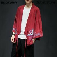 Mens Japanese  Embroidery Asian Improved Traditional Kimono Crane Robes M-5XL