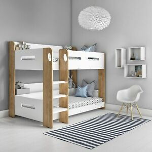 Sky Bunk Bed in White and Oak - Ladder Can Be Fitted Either Side!