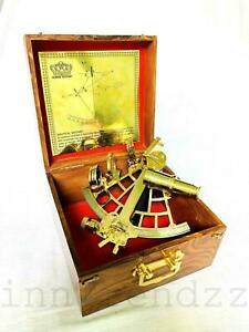 "Nautical brass 9"" ship marine vintage style sextant instruments with wooden box"
