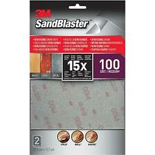 3M Sandblaster Ultra Flexible Sanding Sheets, 100 Grit, Silver, Medium, Set Of 2