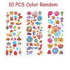 10 PCS Colorful 3D Stickers Cartoon Fish Kindergarten Reward Adhesive Paper