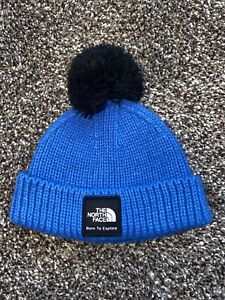 North Face Baby Hat Winter Beanie Size 0-6 Months Baby Bous Blue Colored