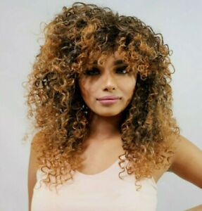 Long Brown black mix thick Ombre Big Curly afro full wig with fringe