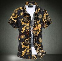 Fashion Mens Hawaiian Short Sleeve Slim Fit Shirts Summer Floral Printed Shirt