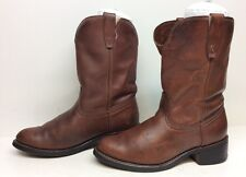 MENS UNBRANDED COWBOY WORK LEATHER BROWN BOOTS SIZE 8.5 D
