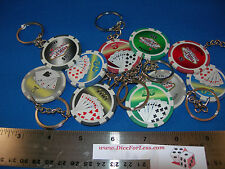 "SET OF 10 POKER CHIP KEY CHAINS ACES AND ROYAL FLUSH ""WELCOME TO LAS VEGAS"""