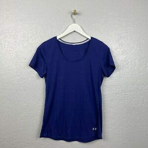 Under Armour Size M Blue Stripe Threadborne Run Short Sleeve Shirt
