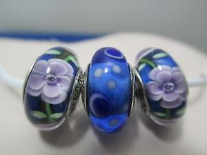 Set of 3 Authentic Pandora Murano Glass Bead Charm Blue Bubbles Lavender flowers