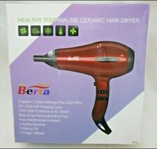 *Berta 1875w Professional 2 Speed & 3 Heat Hair Dryer - Four Accessories, Red 4H