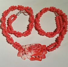 """Gorgeous Coral Necklace with carved Rose Pendant, 21""""-23"""" long."""